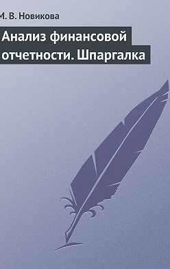 Мария Новикова - Анализ финансовой отчетности. Шпаргалка
