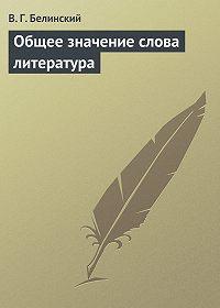 В. Г. Белинский -Общее значение слова литература