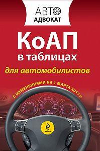 Коллектив Авторов -Кодекс РФ об административных правонарушениях в таблицах для автомобилистов. С изменениями на 1 марта 2011 года