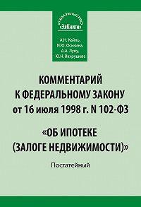 Юлиана Вахрушева -Комментарий к Федеральному закону от 16 июля 1998 г. N 102-ФЗ «Об ипотеке (залоге недвижимости)». Постатейный
